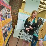 Sarah Carlson '13 explains her research to Assistant Professor of Religion Robert Erlewine.