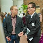 Assistant Professor of Psychology Brad Sheese (left) talks to Da Wang '15 and Samantha Sorenson '15.