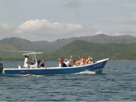 Riding out to the coral reef in preparation to go snorkeling.