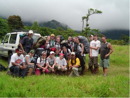 Preparing to hike up to the Cacao Field Station