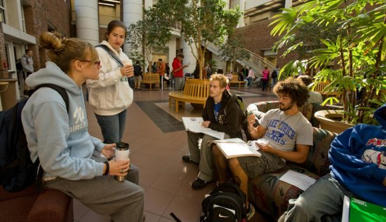 Students in the Center for Natural Sciences Building