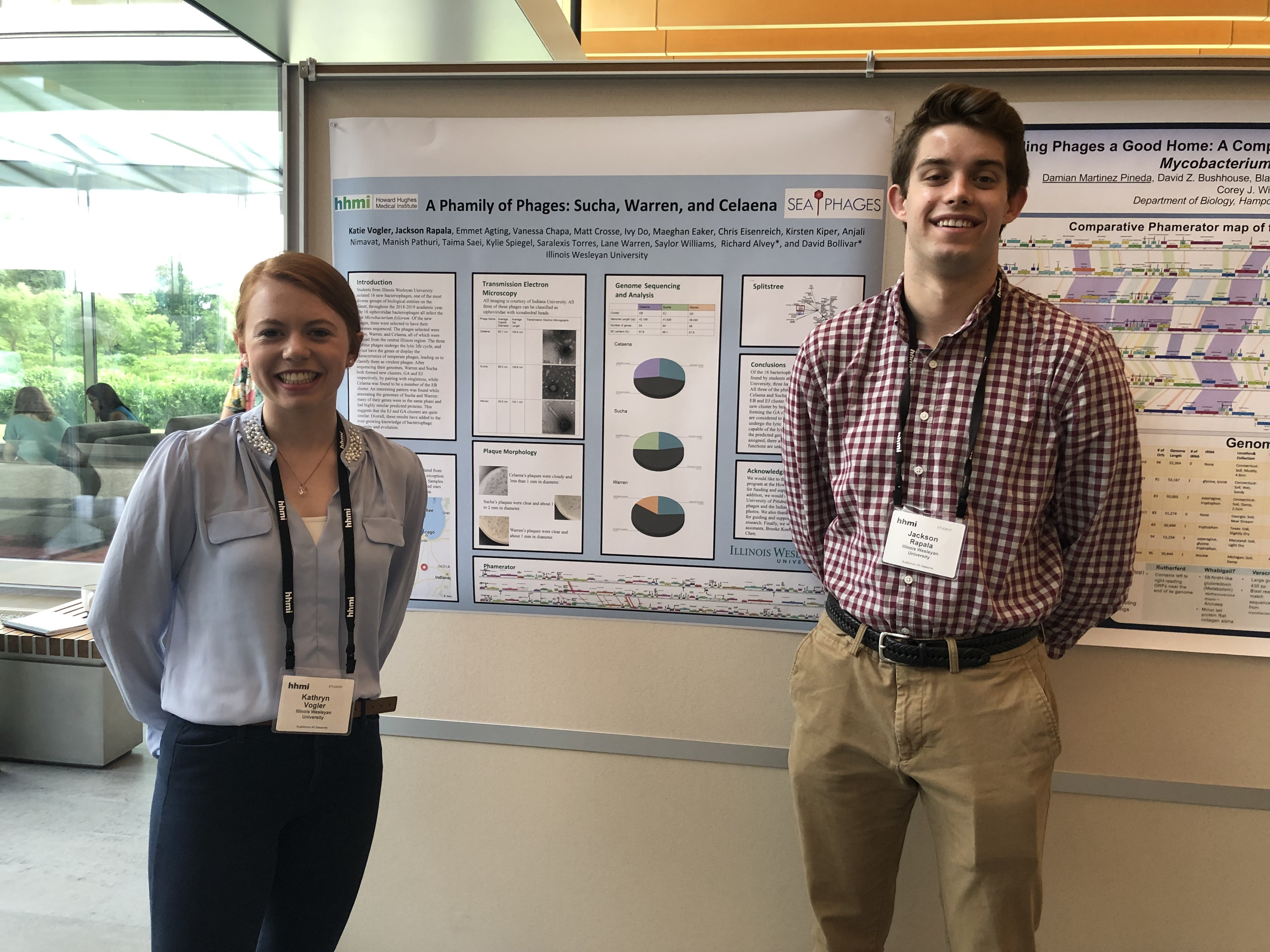 Katie Vogler '22 & Jackson Rapala '22 presenting their research at the Howard Hughes Medical Institute Science Education Alliance SymposiumEducation Alliance Symposium