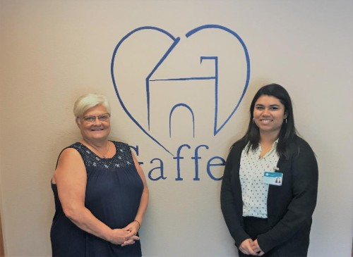 Nima with the owner of Gaffey Home Nursing and Hospice, Kim Gaffey