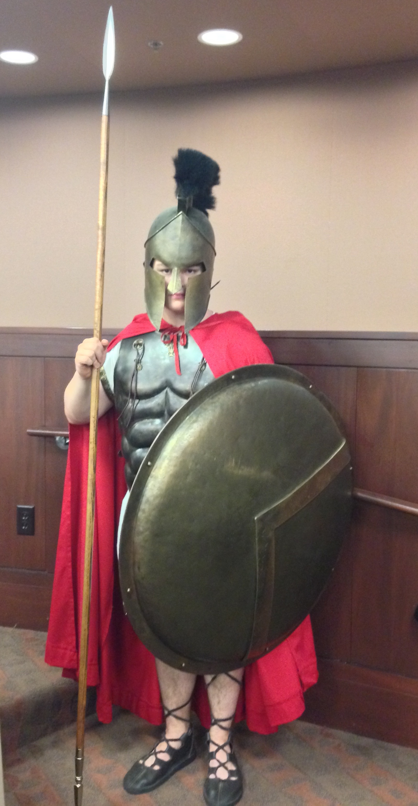 "Student in armor: ""Nick McDermott models his impressive panoply"""