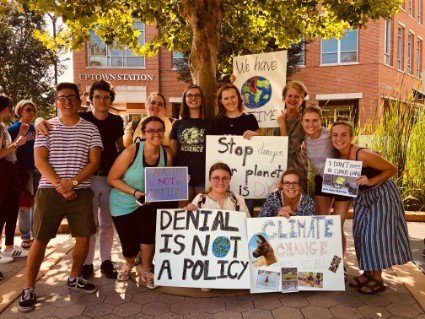 Faculty and students at the Climate Strike in Normal