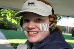 Student with face painted