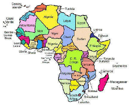 africa map in english