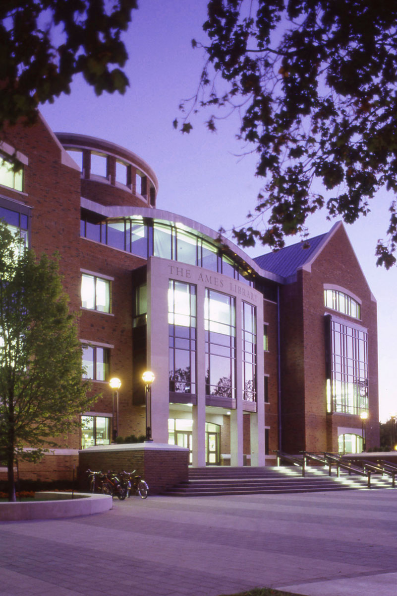 Ames Library at Night