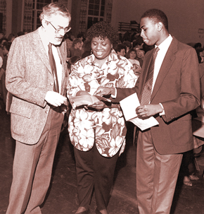 Paul Bushnell with Monica Taylor '88 and Desi Smith '89