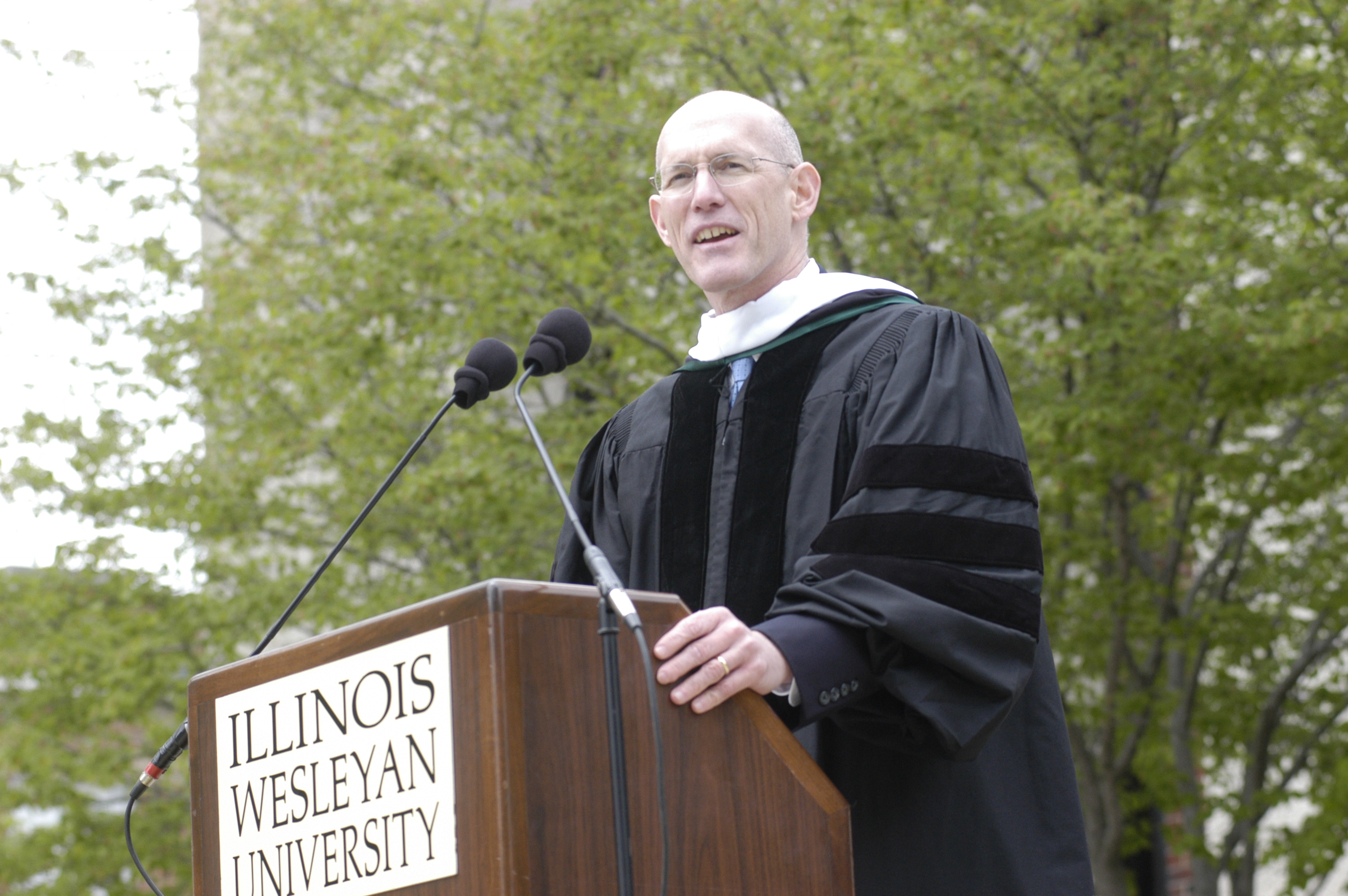 Poland provided the keynote address at Illinois Wesleyan's Commencement ceremony in 2005.