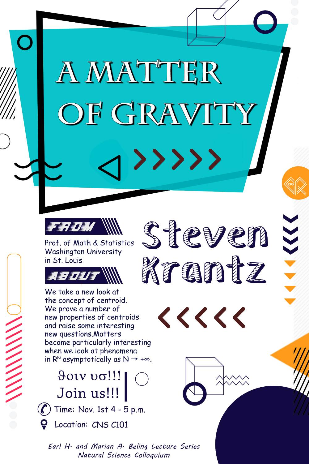 A Matter of Gravity lecture on Nov 1 4-5 PM
