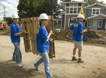 Superb First Year Student Volunteers Spend Their Saturday Morning Helping Build A  Much Needed Home.