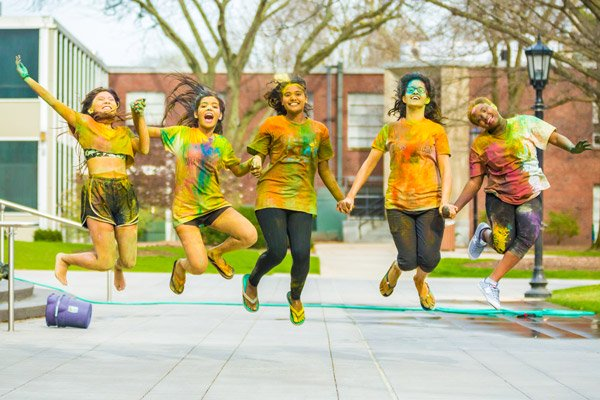 Jumping at Holi