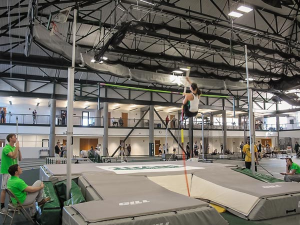 Jamie Gradishar '17 competes in the pole vault at the I-55 Triangular