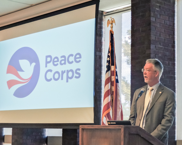 President Eric Jensen joined other luminaries attending the launch of the Peace Corps Prep program at IWU