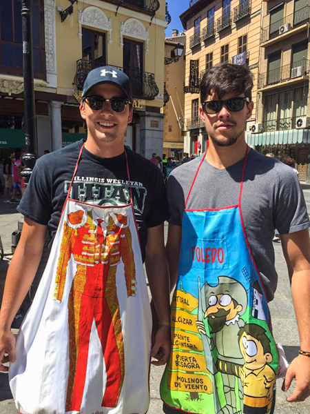 Kevin Connelly '18 (left) and Alec Bausch '17 proudly display souvenir aprons
