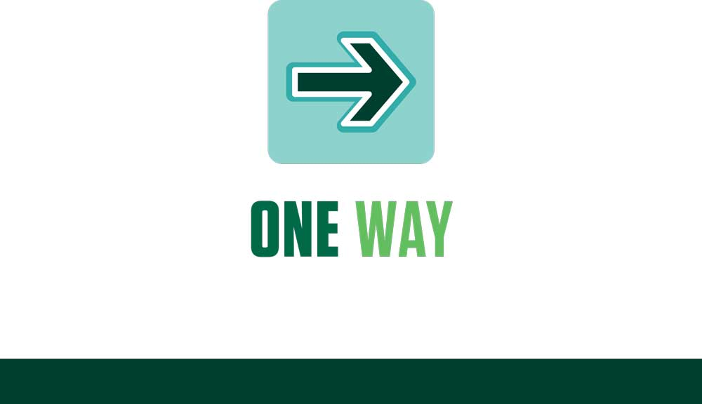 COVID sign - one way, right arrow